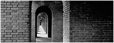 Brick walls and arches. Dry Tortugas National Park (Panoramic black and white)
