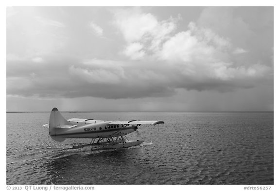 Seaplane and ocean. Dry Tortugas National Park (black and white)
