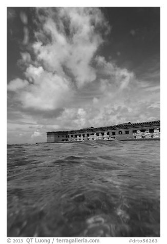Fort Jefferson see at water level. Dry Tortugas National Park (black and white)