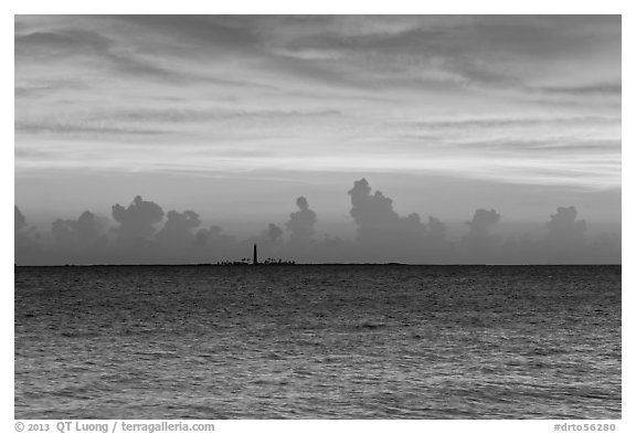 Loggerhead key at sunset. Dry Tortugas National Park (black and white)