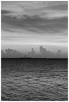Colorful sunset over Loggerhead Key. Dry Tortugas National Park, Florida, USA. (black and white)