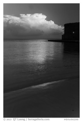 Beach, cloud and fort at sunrise. Dry Tortugas National Park (black and white)
