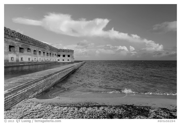 North Beach and Fort Jefferson, early morning. Dry Tortugas National Park (black and white)