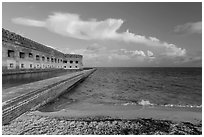 North Beach and Fort Jefferson, early morning. Dry Tortugas National Park, Florida, USA. (black and white)