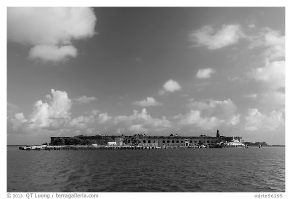 Garden Key and Fort Jefferson from water. Dry Tortugas National Park (black and white)