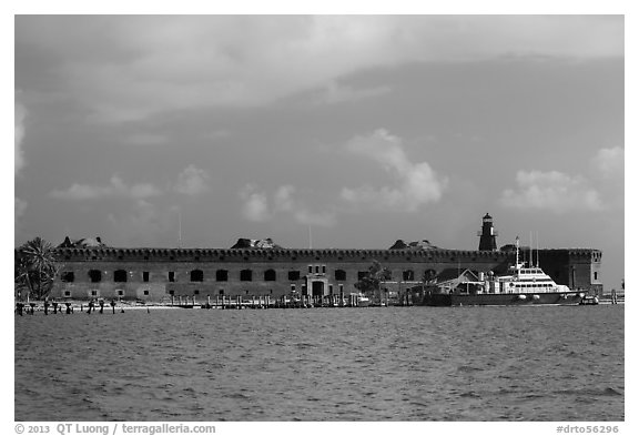 Fort Jefferson from water. Dry Tortugas National Park (black and white)