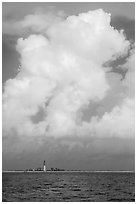 Loggerhead key and lighthouse and tropical cloud. Dry Tortugas National Park ( black and white)