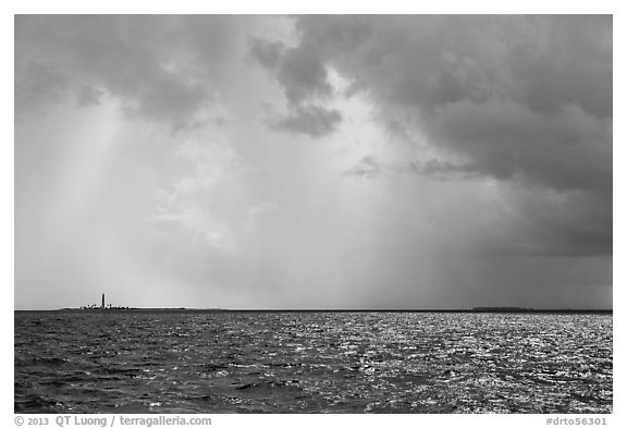 Loggerhead and Garden Key under approaching tropical storm. Dry Tortugas National Park (black and white)