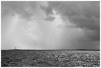 Loggerhead and Garden Key under approaching tropical storm. Dry Tortugas National Park, Florida, USA. (black and white)