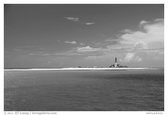 Turquoise waters around Loggerhead key. Dry Tortugas National Park (black and white)