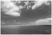 Turquoise ocean waters and Loggerhead key. Dry Tortugas National Park, Florida, USA. (black and white)