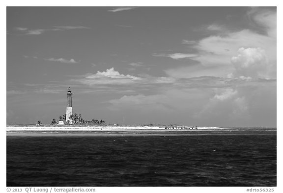 Lighthouse and deck, Loggerhead Key. Dry Tortugas National Park (black and white)