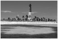 Loggerhead Light and turquoise waters, Loggerhead Key. Dry Tortugas National Park, Florida, USA. (black and white)