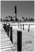 Deck and  Dry Tortugas Light Station, Loggerhead Key. Dry Tortugas National Park, Florida, USA. (black and white)