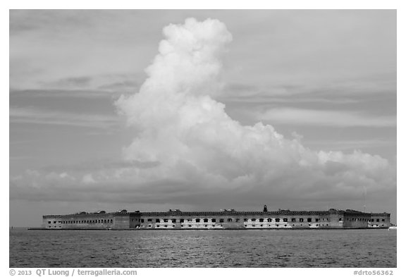 Fort Jefferson and cloud seen from the West. Dry Tortugas National Park (black and white)