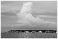 Fort Jefferson and cloud seen from the West. Dry Tortugas National Park, Florida, USA. (black and white)