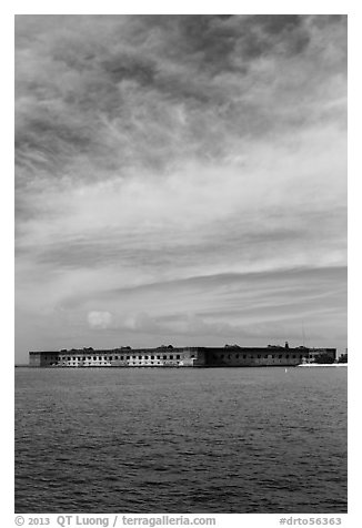 Fort Jefferson and cloud above Gulf waters. Dry Tortugas National Park (black and white)