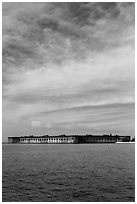 Fort Jefferson and cloud above Gulf waters. Dry Tortugas National Park, Florida, USA. (black and white)