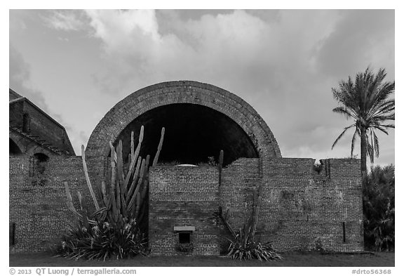 Powder magazine at sunset. Dry Tortugas National Park (black and white)