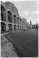 Inside Fort Jefferson at sunset. Dry Tortugas National Park, Florida, USA. (black and white)