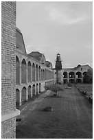 Fort Jefferson, harbor light, interior courtyard at sunset. Dry Tortugas National Park ( black and white)