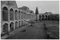 Walls and ruined barracks inside Fort Jefferson. Dry Tortugas National Park, Florida, USA. (black and white)