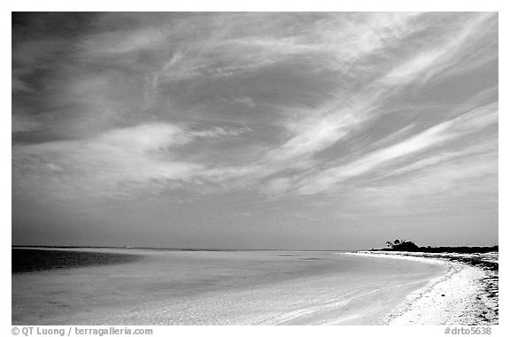 Sky, turquoise waters and beach on Bush Key. Dry Tortugas National Park (black and white)