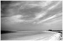Sky, turquoise waters and beach on Bush Key. Dry Tortugas National Park ( black and white)