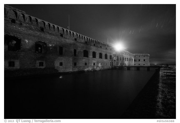 Fort Jefferson at night with Harbor Light. Dry Tortugas National Park (black and white)