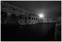 Fort Jefferson at night with Harbor Light. Dry Tortugas National Park, Florida, USA. (black and white)