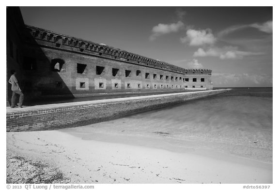 Park visitor looking, North Beach and Fort Jefferson. Dry Tortugas National Park (black and white)