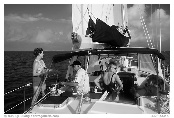 Sailing in the Gulf. Dry Tortugas National Park (black and white)