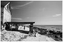 Shack and pier on Loggerhead Key. Dry Tortugas National Park, Florida, USA. (black and white)