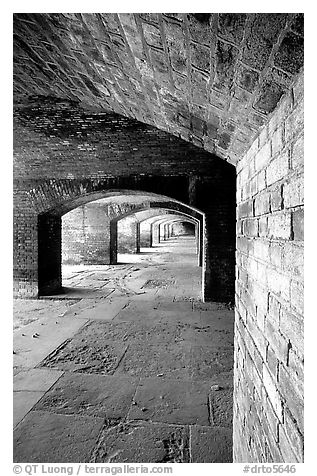 Casemate on the first floor of Fort Jefferson. Dry Tortugas National Park (black and white)