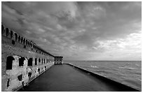 Fort Jefferson seawall and moat, late afternoon. Dry Tortugas National Park, Florida, USA. (black and white)
