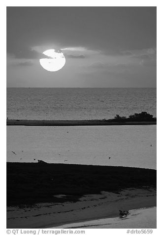 Sun rising over Long Key. Dry Tortugas National Park (black and white)