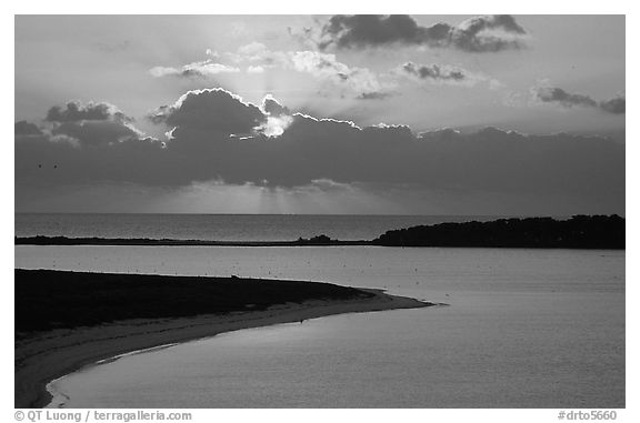 Sunrise over Long Key and Bush Key. Dry Tortugas National Park (black and white)