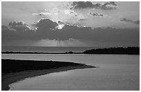 Sunrise over Long Key and Bush Key. Dry Tortugas National Park ( black and white)