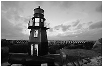 Fort Jefferson harbor light, sunrise. Dry Tortugas National Park, Florida, USA. (black and white)
