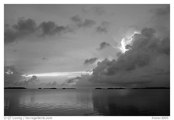 Clearing storm on Florida Bay seen from the Keys, sunset. Everglades National Park (black and white)