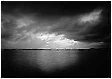 Storm clouds over Florida Bay at sunset. Everglades National Park, Florida, USA. (black and white)