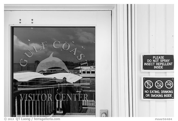 Marina and Gulf, Gulf Coast Visitor Center window reflexion. Everglades National Park (black and white)