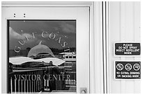 Marina and Gulf, Gulf Coast Visitor Center window reflexion. Everglades National Park ( black and white)