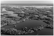 Aerial view of Ten Thousand Islands and Chokoloskee Bay. Everglades National Park, Florida, USA. (black and white)