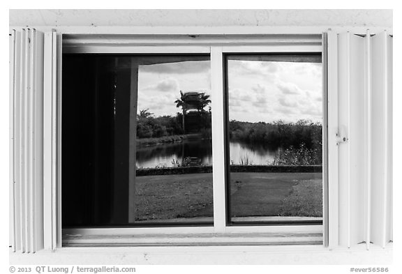 Slough, Royal Palms Visitor Center window reflexion. Everglades National Park (black and white)