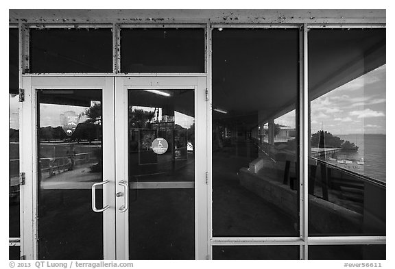 Florida Bay and lawn, Flamingo visitor center window reflexion. Everglades National Park (black and white)