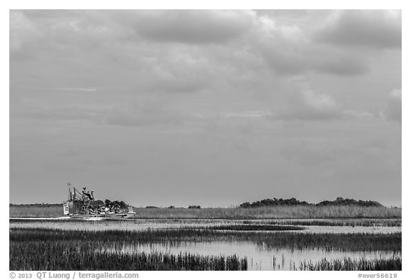 Airboat. Everglades National Park (black and white)