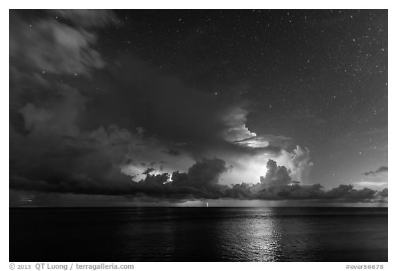 Lightening over Florida Bay seen from the Keys at night. Everglades National Park (black and white)