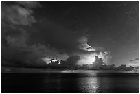 Lightening over Florida Bay seen from the Keys at night. Everglades National Park, Florida, USA. (black and white)