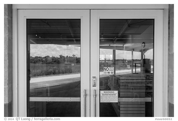 Road and slough, Shark Valley visitor center window reflexion. Everglades National Park (black and white)